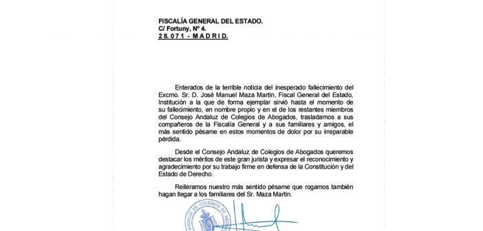 Pésame por el fallecimiento del Excmo. Sr. D. José Manuel Maza Martín, Fiscal General del Estado
