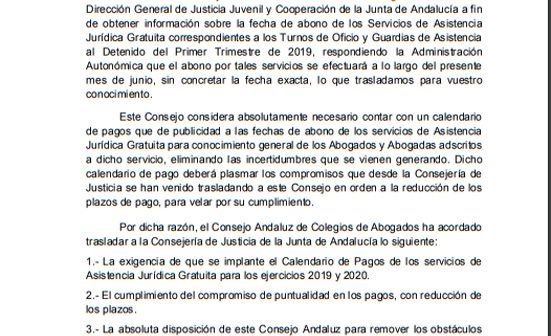 Comunicado de CADECA sobre el Abono de los Servicios de Asistencia Jurídica Gratuita